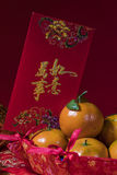 Chinese new year decorations on red background, Stock Image