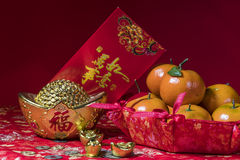 Chinese new year decorations on red background, Stock Photos