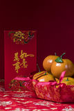 Chinese new year decorations on red background Stock Photography