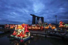 Chinese New Year decorations in Singapore stock images