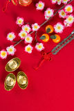 Chinese new year decorations top down view with copyspace Stock Images
