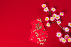 Chinese new year decorations top down view with copyspace Stock Photo
