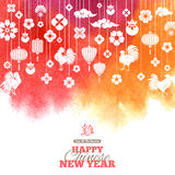 Chinese New Year, Decorations on Watercolor Background. 2017 Chinese New Year Greeting Card with Hanging Decorations on Watercolor Background. Vector Royalty Free Stock Photography