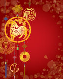 Chinese New Year decorative background. With hanging golden coins Stock Image