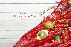 Chinese new year`s decoration for Spring festival. Chinese New Year decorative items used in the belief that the good luck and wealth Royalty Free Stock Photography