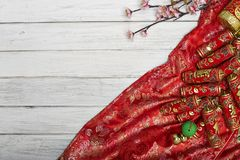 Chinese new year`s decoration for Spring festival. Chinese New Year decorative items used in the belief that the good luck and wealth Royalty Free Stock Images