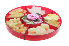 Chinese New Year Delicacies. On White Background stock images