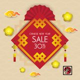 Chinese new year design background. Chinese New Year sale design. Template royalty free illustration