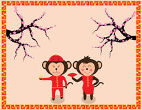 Chinese New Year design Cute monkeys. With plum blossom in traditional chinese background vector illustration