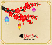 Chinese New Year design. Dog with plum blossom in traditional chinese background. hieroglyph: Dog.  stock illustration