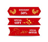 Chinese new year design elements. Chinese tags for sale Stock Image