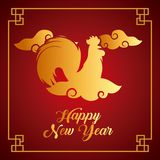 Chinese new year design. Happy new year card. chinese year of rooster. colorful design.  illustration Royalty Free Stock Image