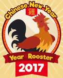 Chinese New Year Design with Rooster in Flat Style, Vector Illustration stock images