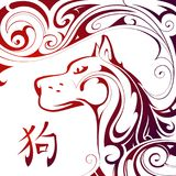Chinese New Year 2018 Dog horoscope symbol. Dog as a symbol of Chinese New Year 2018 by orient horoscope hieroglyph translation: Dog Stock Photography