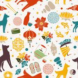 Chinese new year of the dog 2018 icon background. Chinese new year of the dog 2018 seamless pattern illustration, colorful asian culture icon decoration Stock Photos