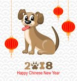 2018 Chinese New Year of Dog, Lanterns and Doggy, Celebration Eastern Card. Illustration Vector vector illustration