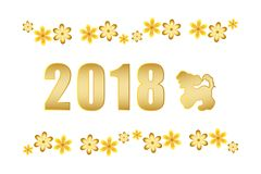 2018 Chinese New year. The year of the dog. Vector illustration. Greeting card with gold yellow dog and flowers. White background, isolated. Element for design Stock Photos