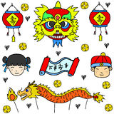 Chinese New Year of doodles object. Vector art royalty free illustration