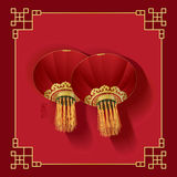 Chinese New Year double lantern blank Royalty Free Stock Photography
