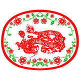 Chinese New Year Dragon. Traditional paper cut of a dragon Stock Photos