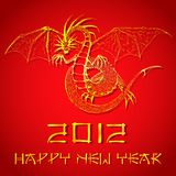Chinese New Year of Dragon. Illustration of dragon on Chinese new yeard card Stock Photos
