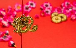 Chinese New Year Dragon. Ornament on red background with cherry blossom for festive using royalty free illustration