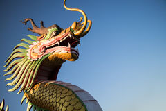 Chinese New Year Dragon with blue sky. Chinese New Year Dragon Decoration on blue sky background.Chinese sculpture designs.Dragon head.Happy New Year. powerful stock photography