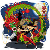 Chinese New Year Dragon Dance. An Illustration Of Chinese New Year Dragon Dance. Useful As Icon, Illustration And Background For Chinese New Year Theme. The File royalty free illustration