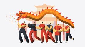 Chinese New Year Dragon Dance Festival. Asian Lunar Holiday Character Traditional Party Parade. Happy Man Celebrate. Prosperity Concept for Banner Flat Cartoon stock illustration