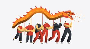 Chinese New Year Dragon Dance Parade. Asia Lunar Holiday People Character at Festive Party Isolated for Invitation Card. Happy Man Celebrate Concept for royalty free illustration
