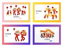 Chinese New Year Dragon Festival Landing Page Set. Man Dance in Red Costume. Happy Traditional Asian Holiday. Concept for Website or Web Page. Flat Cartoon stock illustration