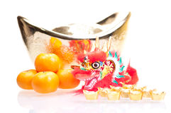 Chinese new year with dragon and ingot Royalty Free Stock Images