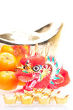 Chinese new year with dragon and ingot close up Royalty Free Stock Image