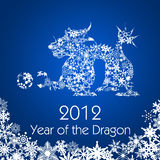 Chinese New Year Dragon with Snowflakes Pattern. 2012 Chinese New Year Dragon with Snowflakes Pattern on Blue Background Stock Photos