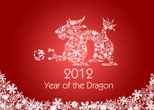 Chinese New Year Dragon Snowflakes Pattern Red. 2012 Chinese New Year Dragon with Snowflakes Pattern on Red Background Royalty Free Stock Photos