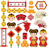 Chinese new year elements clip art set. Chinese new year elements, chinese new year objects clip art set Royalty Free Stock Photos
