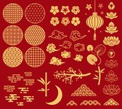Chinese new year elements. Festive asian ornaments, patterns in oriental style. Clouds, moon and bamboo, sakura and