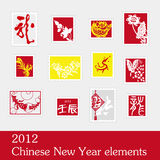 Chinese New Year elements stamp. 2012 Chinese New Year elements stamps royalty free illustration