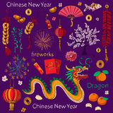 Chinese New Year elements. Chinese word - Happy new year. Spring and Blessing Stock Image