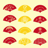 The Chinese new year fan design Stock Photos