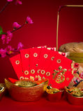 Chinese new year festival decorations, ang pow or red packet and Stock Image