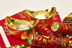 Chinese New Year. Festival decorations , the chinese character on the gold ingots means fortune and luckn stock photos