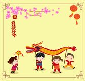 Chinese new year festival/Dragon dance. Illustration Royalty Free Stock Photo