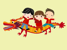 Chinese new year festival/Dragon dance. Illustration of Chinese new year festival/Dragon dance Royalty Free Stock Images