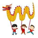 Chinese new year festival/Dragon dance. Illustration Royalty Free Stock Images