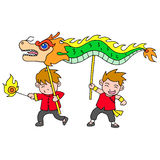 Chinese new year festival dragon dance. Vector art Royalty Free Stock Photography