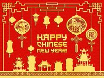 Chinese New Year festive lantern and pagoda card. Chinese New Year lantern and pagoda paper cut ornament for greeting card. Oriental Spring Festival temple with Royalty Free Stock Photos