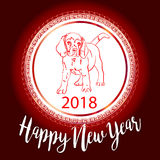Chinese New Year 2018 festive vector card Design with cute dog,. Zodiac symbol of 2018 year Stock Images