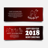 Chinese New Year 2018 festive vector card Design with cute dog, zodiac symbol of 2018 year Translation of text on stamp. Chinese New Year 2018 festive vector Royalty Free Stock Images