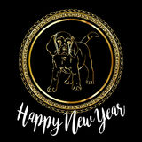 Chinese New Year 2018 festive vector card Design with cute dog, zodiac symbol of 2018 year Translation of text on stamp. Chinese New Year 2018 festive vector Stock Image